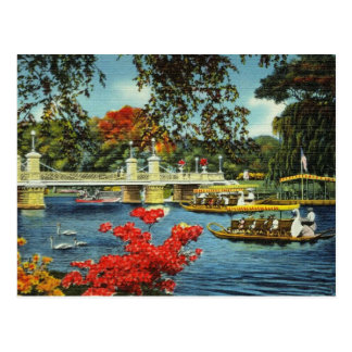 Postal Barcos del cisne de Boston