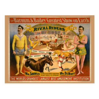 Postal Barnum y poster del circo de Bailey