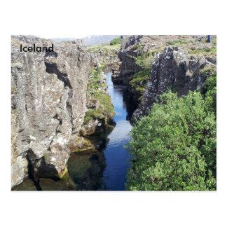 Postal Barranco de Flosagja en Þingvellir, Islandia