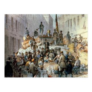 Postal Barricadas en Marzstrasse, Viena, 1848