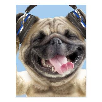 Postal Barro amasado con los auriculares, barro amasado,