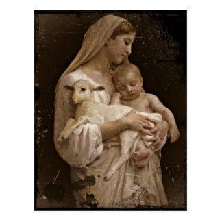 Postal Bebé Jesús de Maria y cordero
