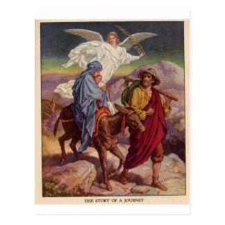 Postal Bebé Jesús en su manera a Egipto