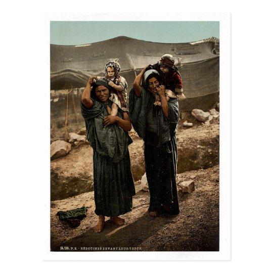 Postal Beduinos y niños fuera de la tienda, Tierra Santa