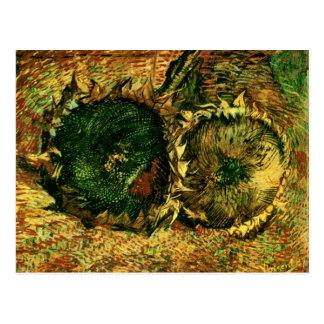 Postal Bella arte cortada de Van Gogh de dos girasoles