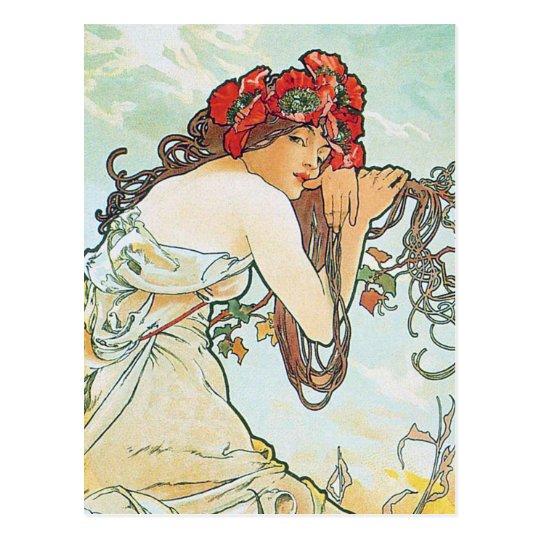 Postal Bella arte de Alfonso Mucha de la estación de