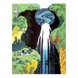 Postal bella arte de la cascada de Hokusai Amida del 北斎