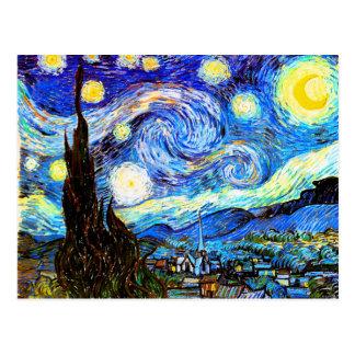 Postal Bella arte de la noche estrellada de Van Gogh