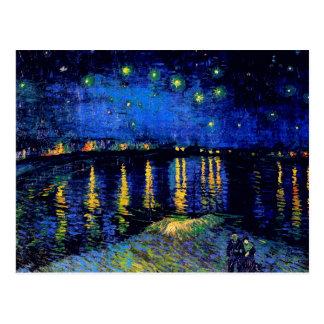 Postal Bella arte de Rhone de la noche estrellada de Van