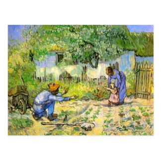 Postal Bella arte de Van Gogh de los primeros pasos