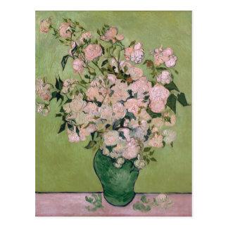 Postal Bella arte rosada de Van Gogh de los rosas (F682)