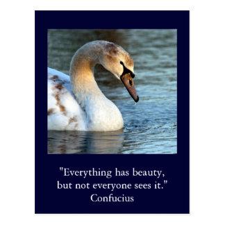 Postal Belleza inspirada 1 de Confucio de la cita de la