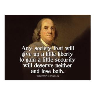Postal Ben Franklin: Cualquie sociedad que dé para