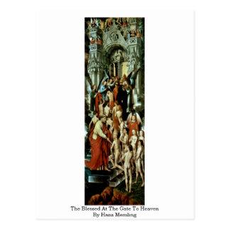 Postal Bendecido en la puerta al cielo por Hans Memling