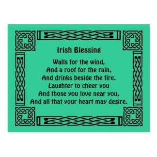 Postal bendición irlandesa de la buena suerte