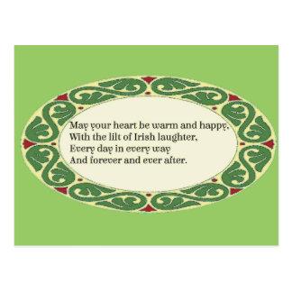 Postal Bendición irlandesa - el corazón sea caliente y