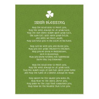 Postal Bendición irlandesa verde del trébol