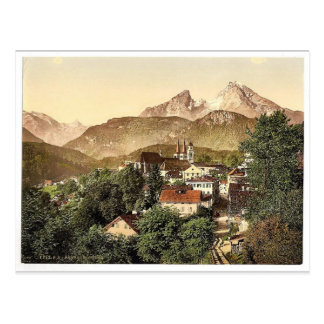 Postal Berchtesgaden con Waltzmann, Baviera superior,