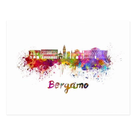 Postal Bergamo skyline in watercolor