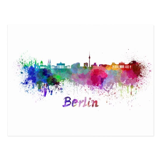 Postal Berlin skyline in watercolor