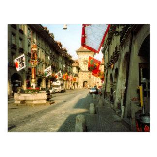 Postal Berna, calle principal y clocktower