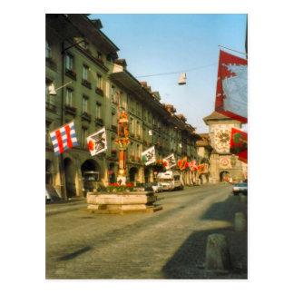 Postal Berna, calle principal y torre de reloj,