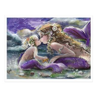 Postal Besar sirenas de la mamá y del bebé en púrpura