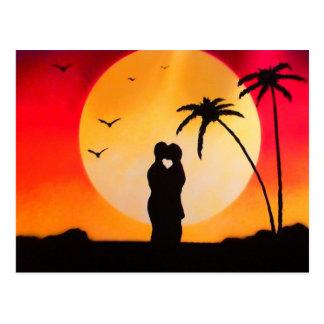 Postal Beso de la puesta del sol