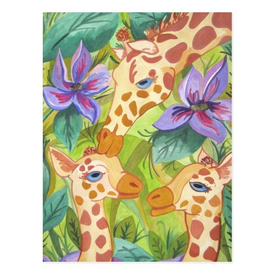 Postal Besos africanos de la jirafa (arte de Kimberly