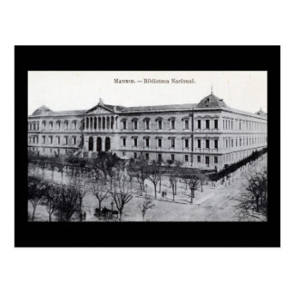Postal Biblioteca nacional, vintage de Madrid, España
