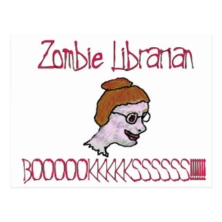 Postal Bibliotecario del zombi