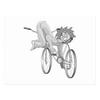 Postal Bici del montar a caballo del payaso al revés