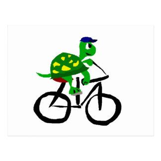 Postal Bicicleta divertida del montar a caballo de la