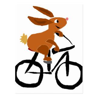 Postal Bicicleta divertida del montar a caballo del
