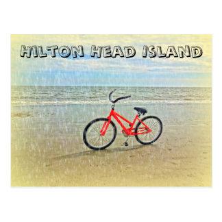 Postal Bicicleta en la ducha de Sun en la playa de Hilton