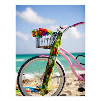 Postal Bicicleta en la playa el   Miami, la Florida