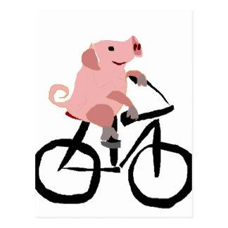 Postal Bicicleta rosada divertida del montar a caballo