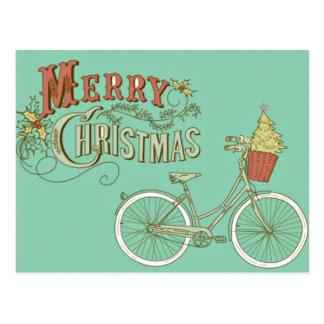 Postal Bicicleta verde de las Felices Navidad del vintage