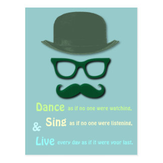 Postal bigote, vidrios y gorra verdes de derby