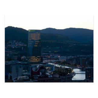 Postal Bilbao al atardecer