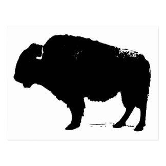 Postal Bisonte negro y blanco del búfalo del arte pop