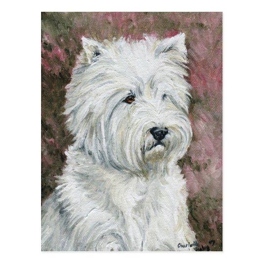 Postal blanca del oeste del arte del perro de