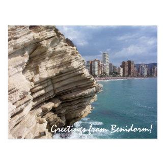 Postal Blanca España de la costa de Benidorm