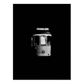 Postal blanca negra de la tranvía de Lisboa