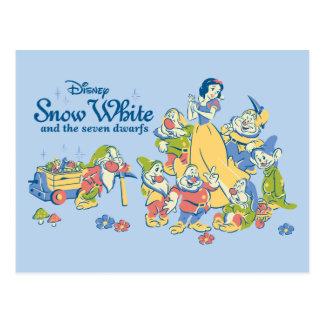Postal Blanco como la nieve y los siete enanos que toman