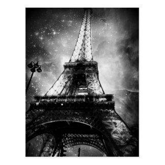 Postal blanco y negro de París, la torre Eiffel