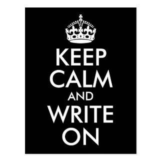 Postal Blanco y negro guarde la calma y escriba encendido