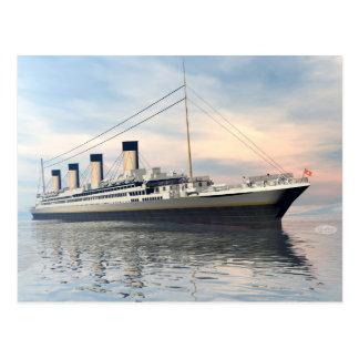 Postal boat_titanic_close_water_waves_sunset_pink_standar