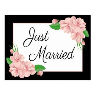 Postal Boda apenas rosado y negro casado floral de la