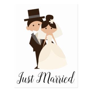 Postal Boda casado apenas de la novia y del novio del